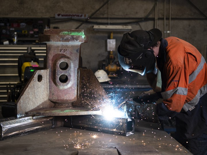 Working photo of Dylan welding