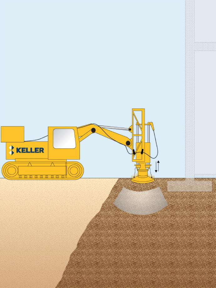 Keller rig performing rapid impact compaction